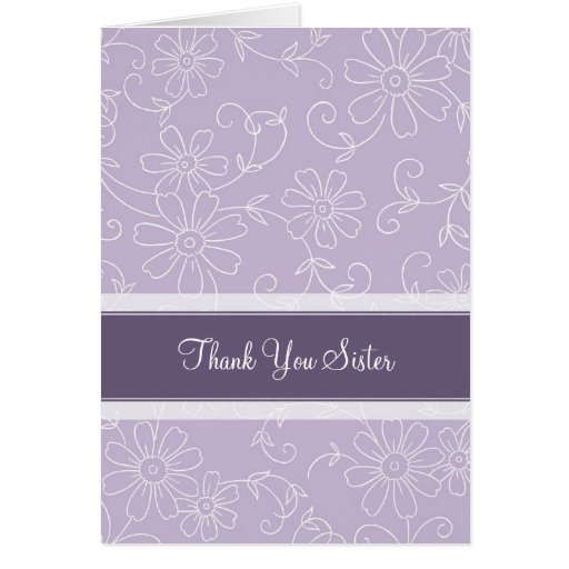 Purple Sister Thank You Matronof Honor Card