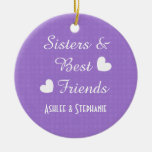 Purple Sisters and Best Friends 2 Hearts A08A Double-Sided Ceramic Round Christmas Ornament