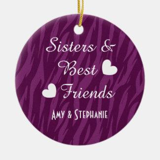 Purple Sisters and Best Friends 2 Hearts Zebra B02 Ceramic Ornament