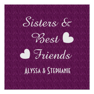 Purple Sisters and Best Friends 2 Hearts Zebra B07 Poster