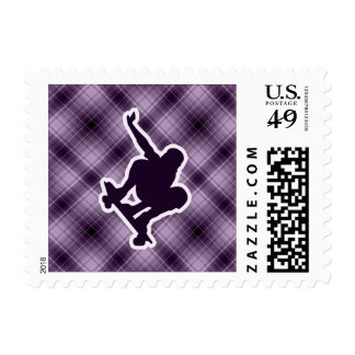 Purple Skateboarding Postage Stamp
