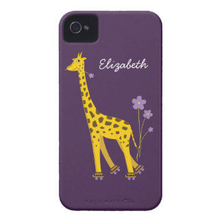 Purple Skating Funny Cartoon Giraffe Personalized iPhone 4 Covers
