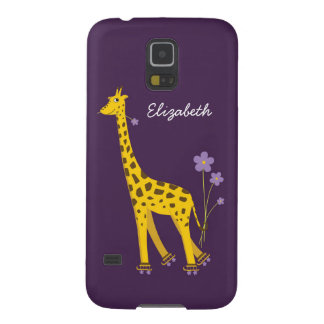 Purple Skating Funny Cartoon Giraffe Personalized Case For Galaxy S5