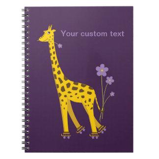 Purple Skating Funny Giraffe Personalized Notebook