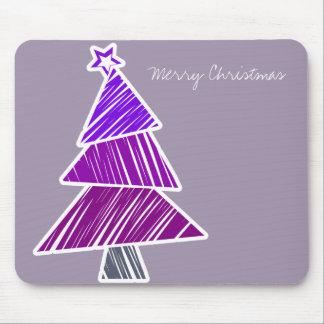 Purple Sketchy Christmas Tree Mousepad