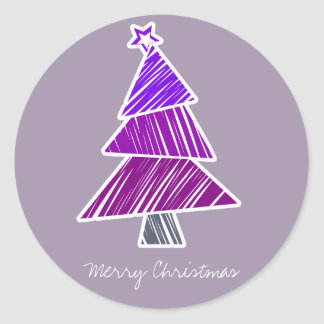 Purple Sketchy Christmas Tree Sticker