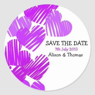 Purple sketchy hearts 'Save the date' Sticker