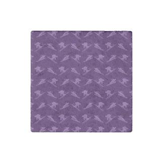 Purple ski pattern stone magnet