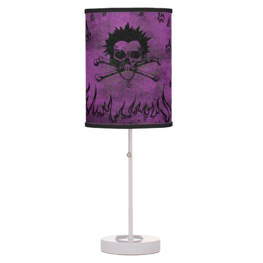 Purple skull and bone table lamp for teens zazzle - Table lamps for teens ...