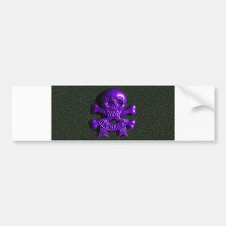 Purple Skull and Cross bones Bumper Stickers
