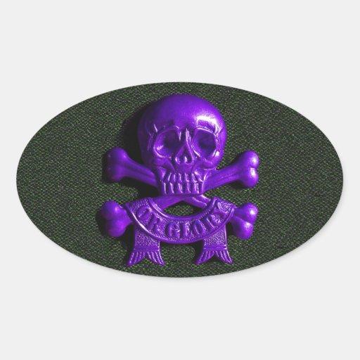 Purple Skull and Cross bones Oval Sticker