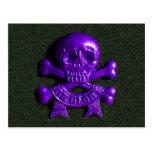 Purple Skull and Cross bones Postcards