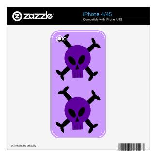 Purple Skull And Crossbones Apple iPhone 4 Skin
