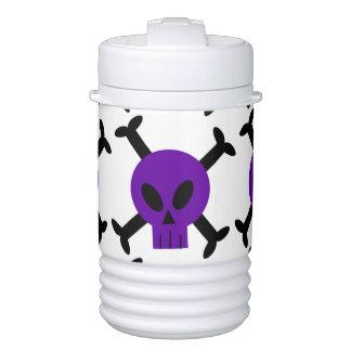 Purple Skull And Crossbones Beverage Cooler