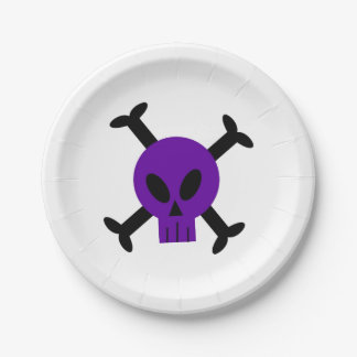 Purple Skull And Crossbones Paper Plate