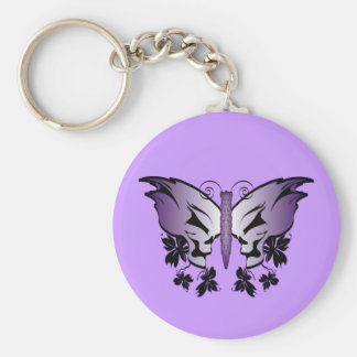 Purple Skull Butterfly Keychain