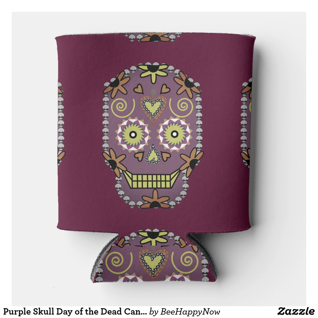 Purple Skull Day of the Dead Can Cooler