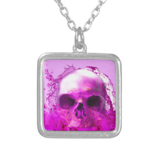 Purple Skull in Water Silver Plated Necklace