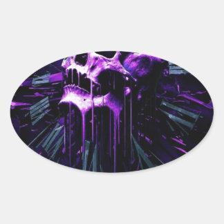 Purple Skull Oval Sticker