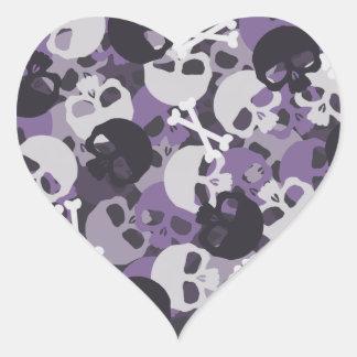 Purple Skull Pattern Heart Sticker