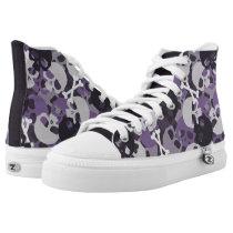 Purple Skull Pattern High-Top Sneakers