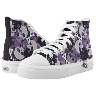 Purple Skull Pattern High-Top Sneakers