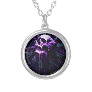 Purple Skull Round Pendant Necklace