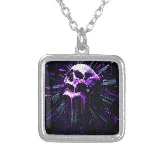 Purple Skull Square Pendant Necklace