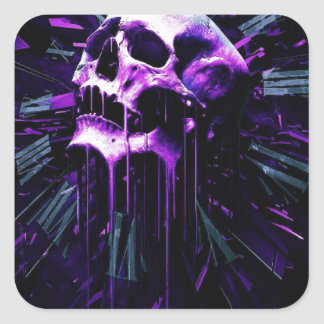 Purple Skull Square Sticker