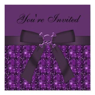 Purple Skulls & Glittery Stars Party Invites