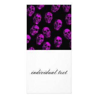 purple skulls custom photo card