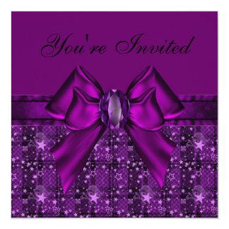 Purple Skulls & Stars, Bow & Jewel Invites