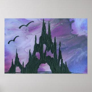 Purple Sky Castle Poster
