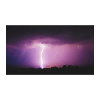 Purple Sky Lightning Storm Gallery Wrap Canvas