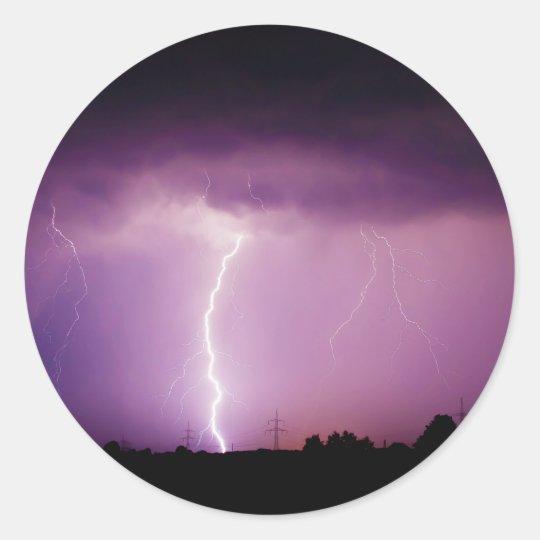 Purple Sky Lightning Storm Classic Round Sticker