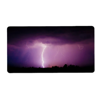 Purple Sky Lightning Storm Label