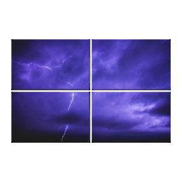 Purple Sky Lightning Triptych Wall Art