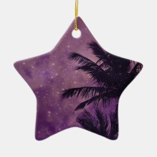 Purple Sky Palm Ceramic Ornament