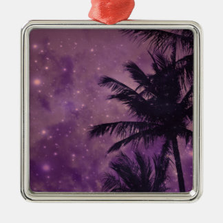 Purple Sky Palm Metal Ornament