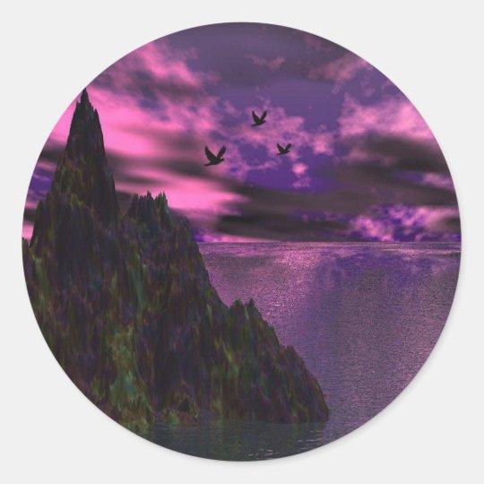 Purple Sky with birds 3d Classic Round Sticker