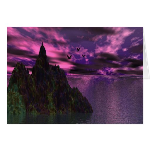 Purple Sky with birds 3d Greeting Card