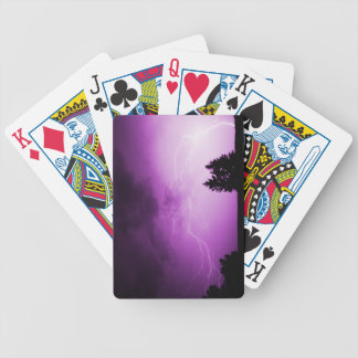 Purple Sky with Lightning Bicycle Playing Cards