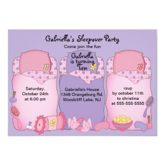 Purple Slumber Birthday Party Personalized Announcement