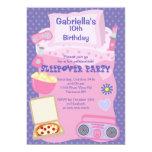 Purple Slumber Party Fun Birthday Invitation