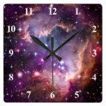 Purple Small Magellanic Cloud Square Wall Clocks