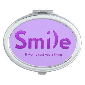 Purple Smile Ascii Text Compact Mirror
