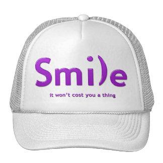Purple Smile Ascii Text Hat