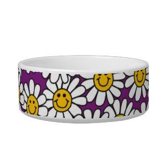 Purple Smiley Daisy Flower Pattern Cat Food Bowl