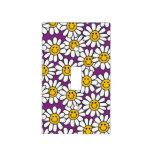 Purple Smiley Daisy Flower Pattern Light Switch Cover