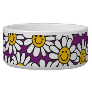 Purple Smiley Daisy Flower Pattern Pet Bowl
